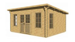 Flat roof wooden house ELTON 5 m x 6 m, 44 mm